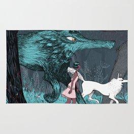 Woman Wolf wandering Rug