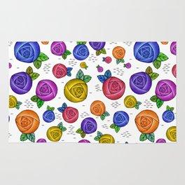 Retro Illustrated Roses Rug