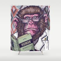 ape Shower Curtains featuring Ape Analyst by Luiz Fogaça