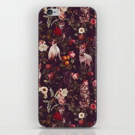 Cat and Floral Pattern iPhone Skin