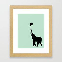Elephant with Balloon - Mint Framed Art Print