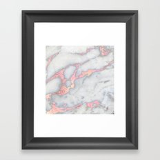 Rosegold Pink on Grey Marble Metallic Foil Style Framed Art Print
