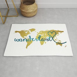 Wanderlust Gold Foil Map with Teal Glitter Text Rug