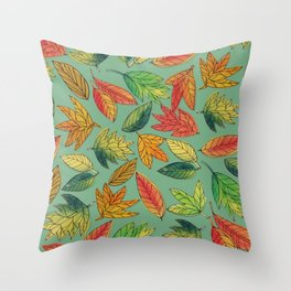 Fall Foliage Leaf Pattern Throw Pillow