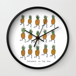 pineapples on the run Wall Clock