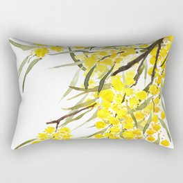 Godlen wattle flower watercolor Rectangular Pillow