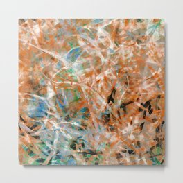 Abstract Expressionist Dance in Rust and Teal Metal Print