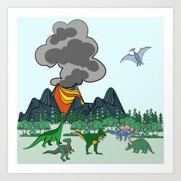 Dino Scene Art Print