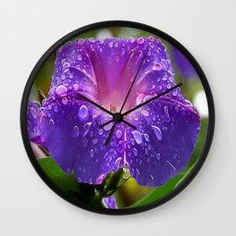 Morning Glory Petals and Dew Drops Vector Wall Clock