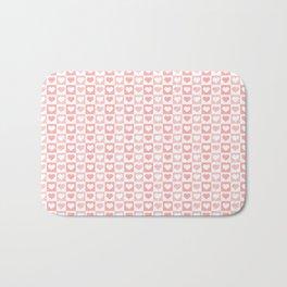 Coral Pink & White Valentines Love Heart Sketch Pattern Bath Mat