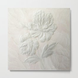 Embossed Painterly White Floral Abstract Metal Print