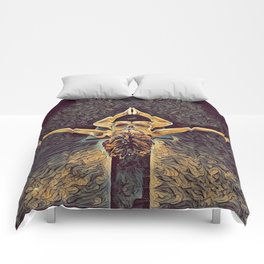 1038s-ZAC Black Dancer Flying on Pedestal Rendered Antonio Bravo Style Comforters