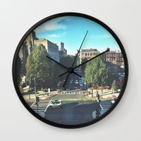 hustle Wall Clocks featuring Hustle by Out of Line