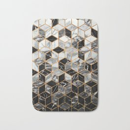 Marble Cubes - Black and White Bath Mat