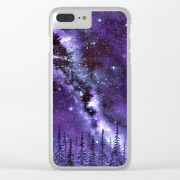 """Purple & Payne's Grey Milky Way Galaxy"" watercolor landscape painting Clear iPhone Case"