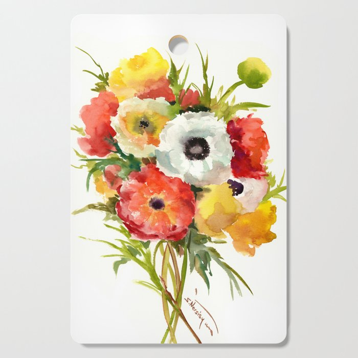 Flowers, Buttercups, orange red white yellow garden floral design Cutting Board