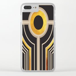 Art Deco Watching You In Black And Gold Clear iPhone Case