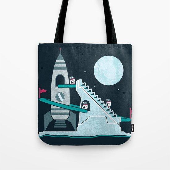Penguin Space Race Tote Bag
