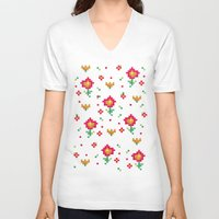 pixel V-neck T-shirts featuring Pixel by Kakel