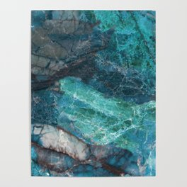 Cerulean Blue Marble Poster