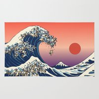 japanese Area & Throw Rugs featuring The Great Wave of Pug   by Huebucket