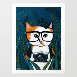 The Calico Photographer Cat Art Print