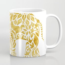 Floral Elephant in Gold Coffee Mug