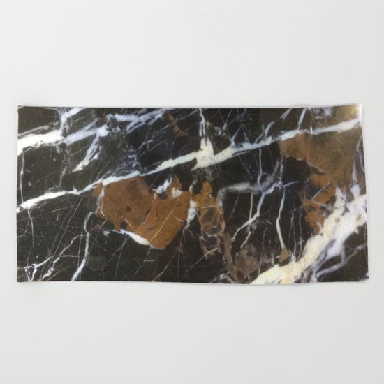Stylish Polished Black Marble Beach Towel