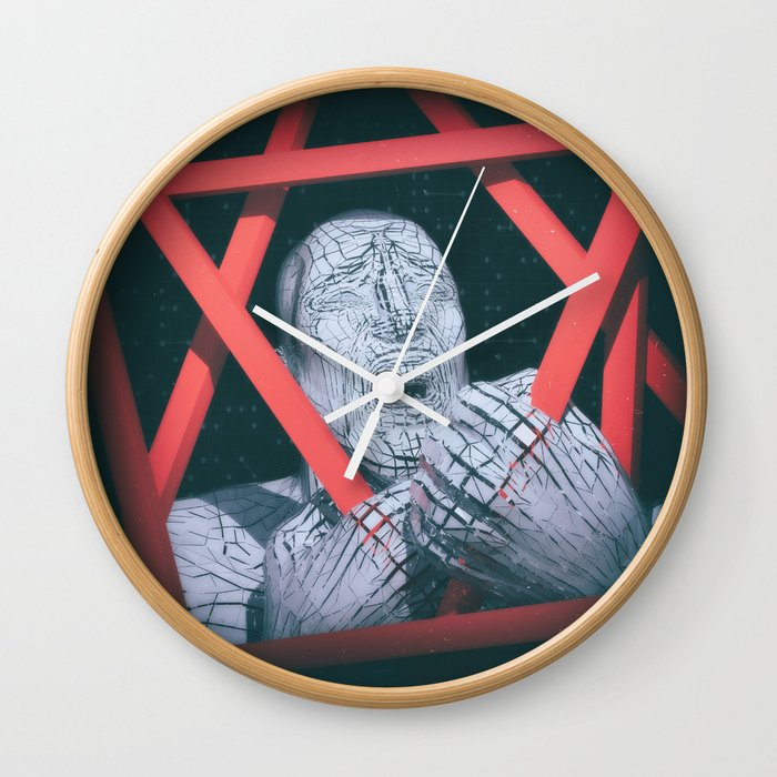 2a23e4f16d6362 Post Modern Trappings Wall Clock by obviouswarrior | Society6