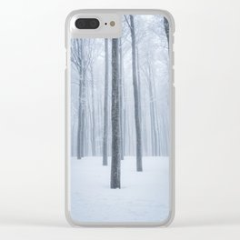 Foggy frozen winter forest Clear iPhone Case
