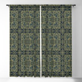 Art Deco Gold Green Velvet  Retro Elegance Blackout Curtain