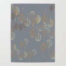 Golden Leaves - Gray Poster