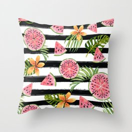 Watermelon black stripes Throw Pillow