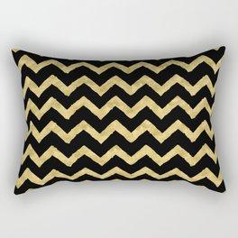 Chevron Black And Gold Rectangular Pillow