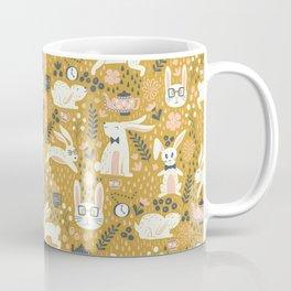 Bunnies + Teapots in Gold Coffee Mug