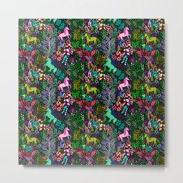 Magical Rainbow Unicorn Forest Metal Print