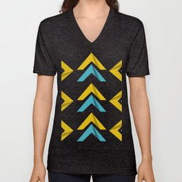 Blue Yellow Abstract ArtWork Unisex V-Neck