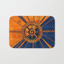 Hunab Ku Mayan symbol Orange and Blue Bath Mat