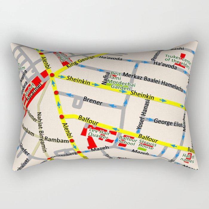 Tel Aviv map - Shenkin Area Rectangular Pillow