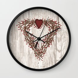 Pip Berry Heart Wreath Wall Clock