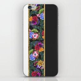 Watercolor Flowers Black White Gold Color Blocks iPhone Skin