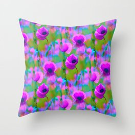 BLOOMING POPPIES PATTERN Throw Pillow
