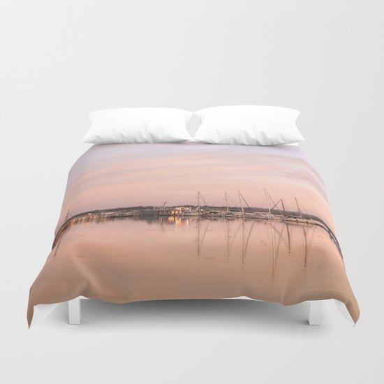 Pink sundown at the sea Duvet Cover