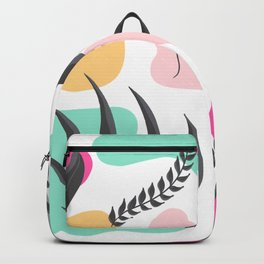 Modern grey tropical leaf pastel geometric shapes abstract pattern Backpack