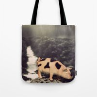 pig Tote Bags featuring Pig by ZenzPhotography
