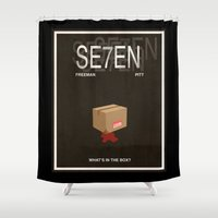 movie poster Shower Curtains featuring Seven Movie Poster by Finlay McNevin
