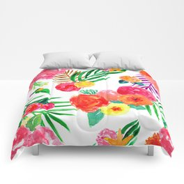 Watercolor Tropical Palm Leaf Floral in White Comforters