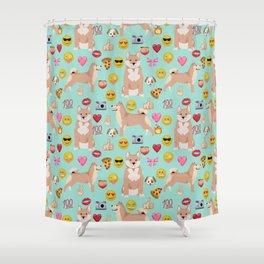 shiba inu emoji dog breed pattern Shower Curtain