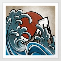 hokusai Art Prints featuring Hokusai comic by Nxolab