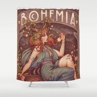 mucha Shower Curtains featuring BOHEMIA by Medusa Dollmaker
